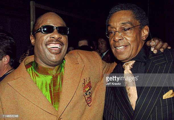 Stevie Wonder and Don Cornelius during 2005 TV Land Awards Backstage at Barker Hangar in Santa Monica California United States
