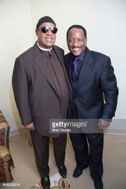 Stevie Wonder and Donnie Simpson attend Dick Gregory Celebration Of Life at City of Praise Family Ministries on September 16 2017 in Landover Maryland