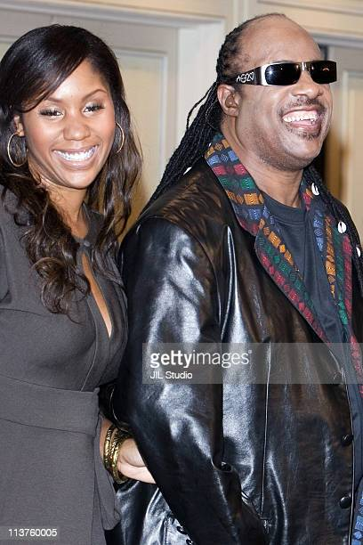 Stevie Wonder and his daughter Aisha Morris during Stevie Wonder Holds a Press Conference to Promote His New Album A Time to Love in Japan at The...