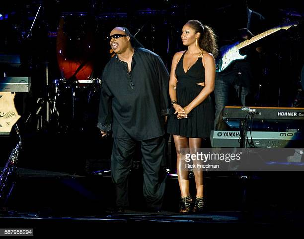 Stevie Wonder and his daughter Aisha Morris pay tribute to Michael Jackson prior to Wonders opening outdoor concert at the 30th Montreal...