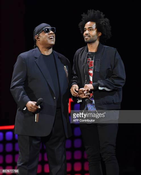 Stevie Wonder and his son Kwame Morris onstage during the 2017 Global Citizen Festival For Freedom For Justice For All in Central Park on September...