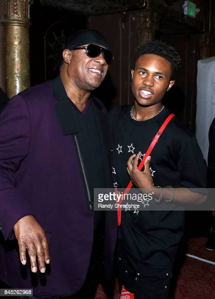 Stevie Wonder and Kailand Morris attend Kailand's Swaggy 16th birthday party at Belasco Theatre on September 9 2017 in Los Angeles California