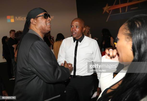 Stevie Wonder and Kevin Liles backstage at the 2017 BET Awards at Microsoft Theater on June 25 2017 in Los Angeles California
