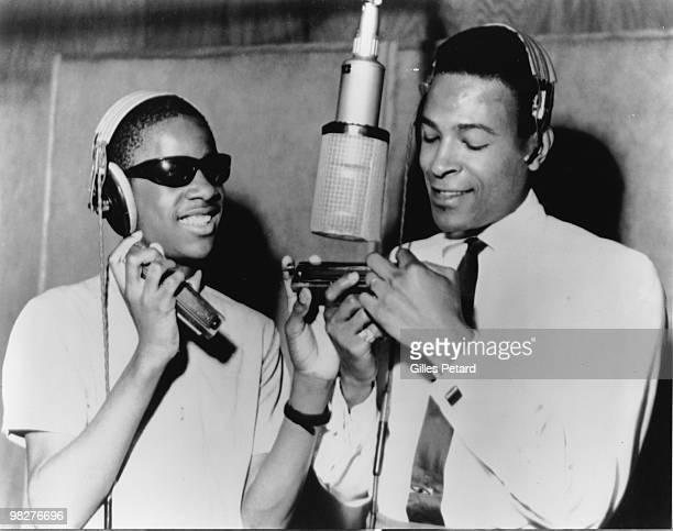 Stevie Wonder and Marvin Gaye around a microphone at the Motown recording studio in Detroit in 1965 in the United States