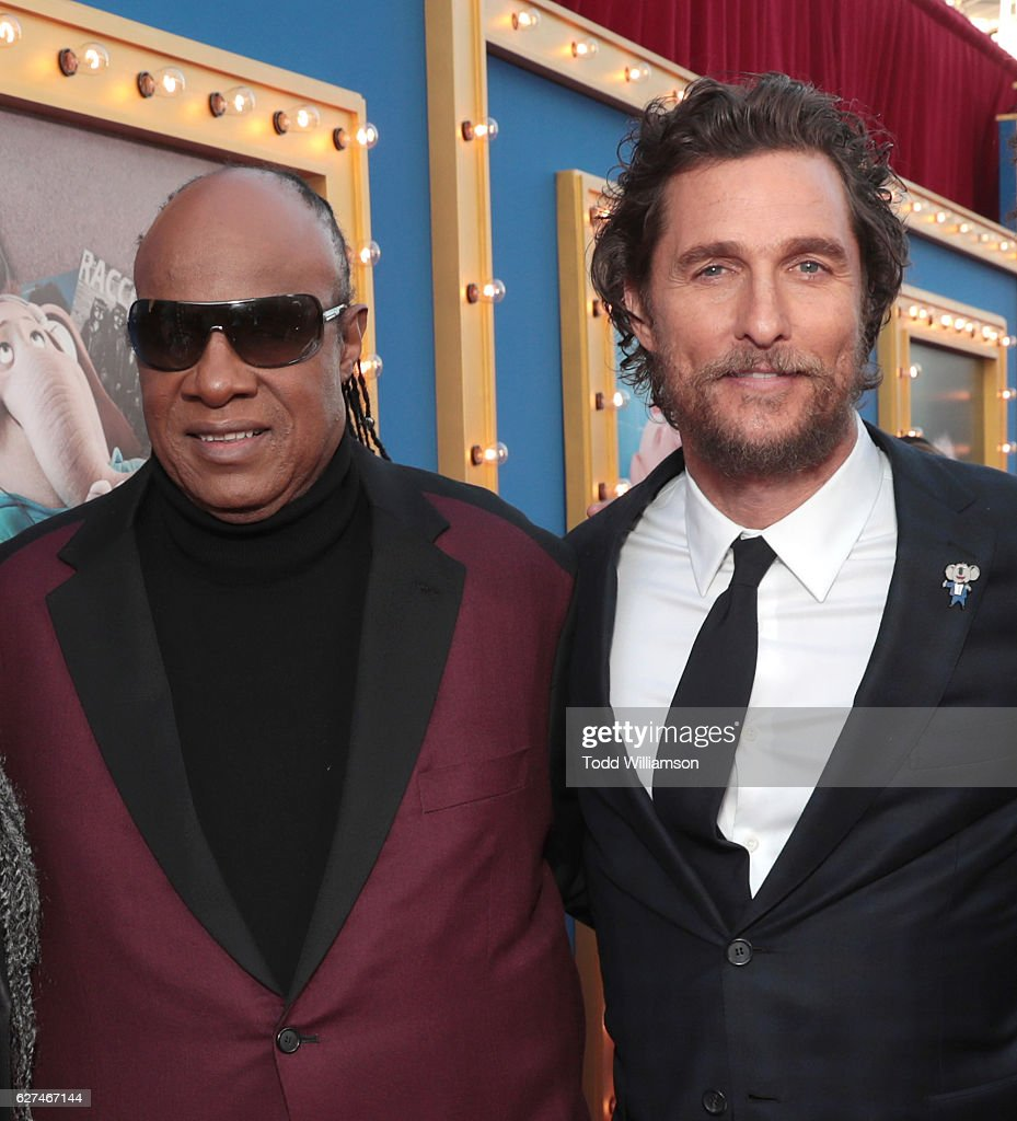 Stevie Wonder and Matthew McConaughey attend the premiere Of Universal Pictures' 'Sing' on December 3, 2016 in Los Angeles, California.