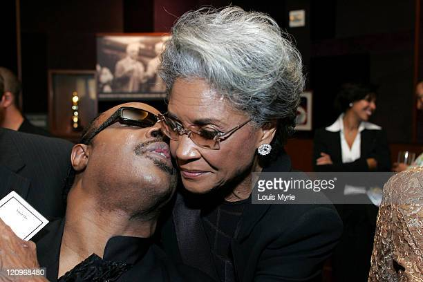 Stevie Wonder and Nancy Wilson during The United Negro College Fund Hosts An Evening of Stars Tribute to Quincy Jones - VIP Reception at Kodak...