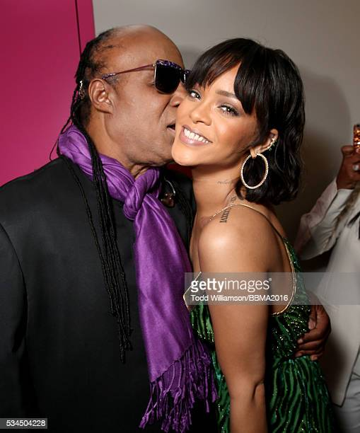 Stevie Wonder and Rihanna backstage at the 2016 Billboard Music Awards at the TMobile Arena on May 22 2016 in Las Vegas Nevada
