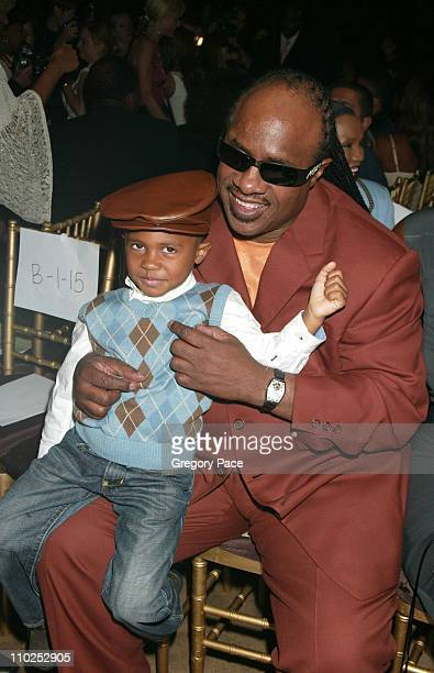 Stevie Wonder and son Kailand during Olympus Fashion Week Spring 2006 Kai Milla Inside Arrivals and Front Row at Celeste Bartos Forum New York Public...
