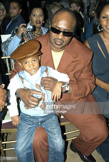 Stevie Wonder and son Kailand during Olympus Fashion Week Spring 2006 Kai Milla Backstage Front Row and Runway at Celeste Bartos Forum New York...