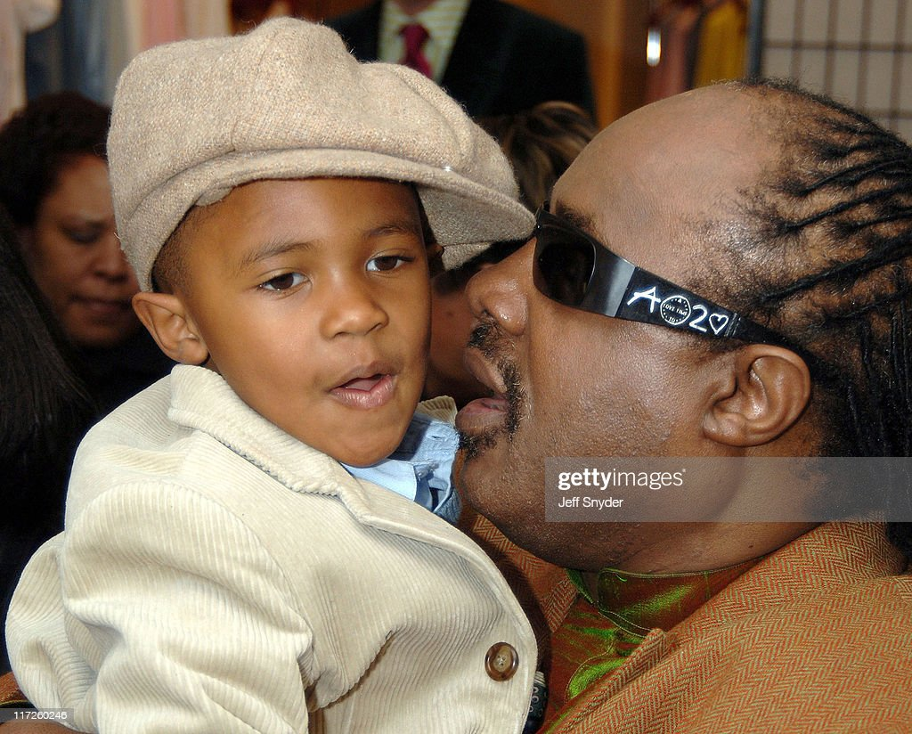 Stevie Wonder and son Kailand during Stevie Wonder Attends His Wife Kai Milla's Fashion Show - December 11, 2005 at Saks Jandel in Washington, D.C., -, United States.