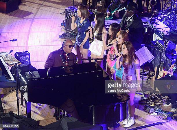 Stevie Wonder and The Wonder Girls perform at the the 2012 United Nations Day Concert at the United Nations on October 24 2012 in New York City