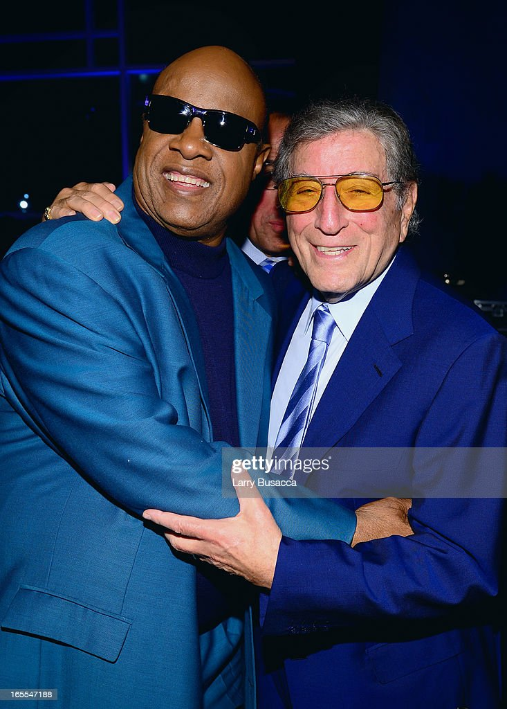 Stevie Wonder and Tony Bennett attend SeriousFun Children's Network event honoring Liz Robbins with celebrity guests at Pier Sixty at Chelsea Piers on April 4, 2013 in New York City.
