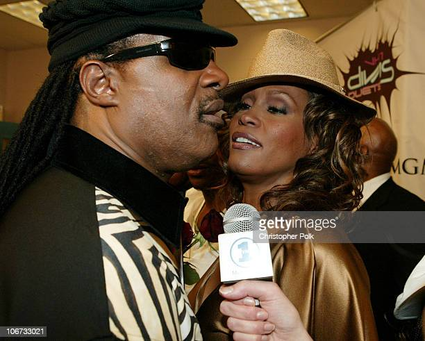 Stevie Wonder and Whitney Houston during VH1 Divas Duets A Concert to Benefit the VH1 Save the Music Foundation Backstage at MGM Grand in Las Vegas...