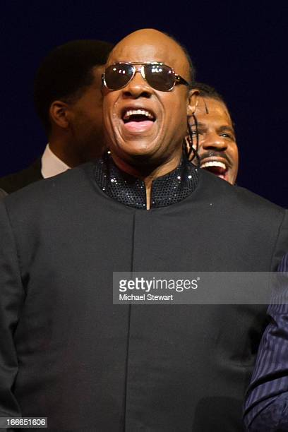 "Stevie Wonder attends the Broadway opening night for ""Motown: The Musical"" at Lunt-Fontanne Theatre on April 14, 2013 in New York City."