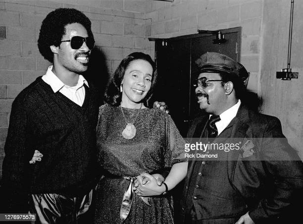 Stevie Wonder, Coretta Scott King and Guest backstage during M.L.K Gala at The Atlanta Civic Center in Atlanta Georgia, January 13, 1982 (Photo by...