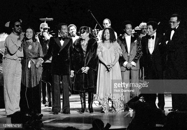 Stevie Wonder, Coretta Scott King, Dick Gregory, Guest, Roberta Flack, Peabo Bryson, Tony Bennett and Harry Belafonte during M.L.K Gala at The...