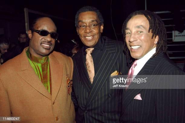 Stevie Wonder Don Cornelius and Smokey Robinson during 2005 TV Land Awards Backstage at Barker Hangar in Santa Monica California United States
