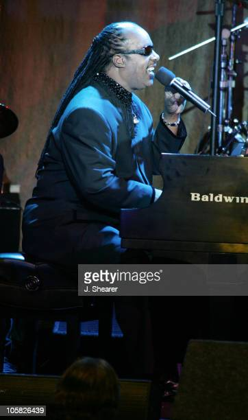 Stevie Wonder during A Tribute to Ray Charles Hosted by Morehouse College and Bill Cosby Show at Beverly Hilton in Beverly Hills California United...