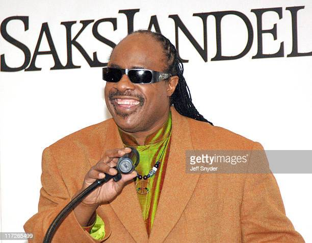 Stevie Wonder during Stevie Wonder Attends His Wife Kai Milla's Fashion Show December 11 2005 at Saks Jandel in Washington DC United States