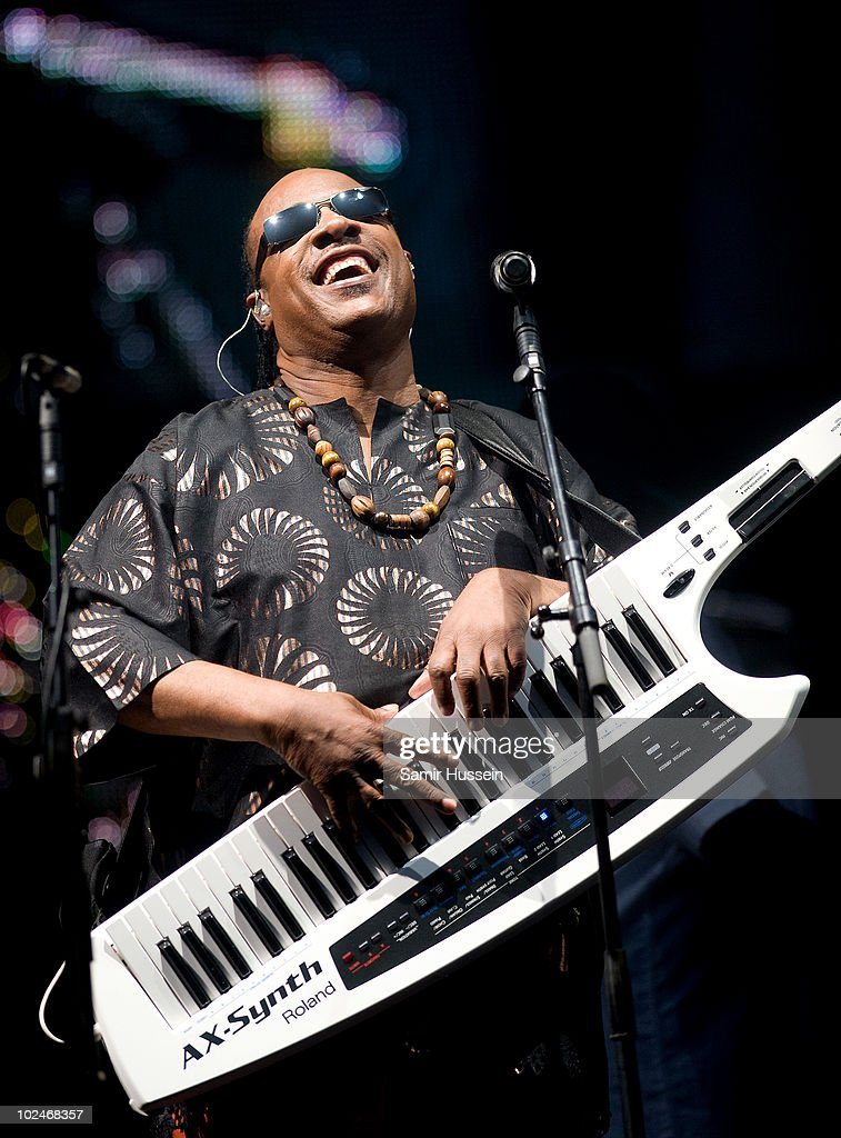 Stevie Wonder headlines the Pyramid Stage at the Glastonbury Festival on June 27, 2010 in Glastonbury, England. Glastonbury has become Europe's largest music festival and is celebrating its 40th anniversary.