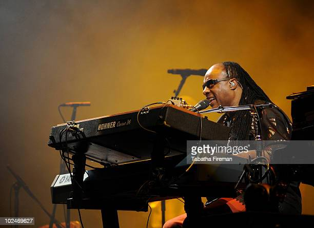 Stevie Wonder headlines the Pyramid stage on the final day of the 40th Glastonbury Festival at Worthy Farm on June 27, 2010 in Glastonbury, England.