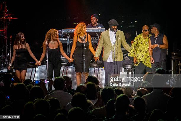 Stevie Wonder his daughter Aisha Morris and Gregory Porter perform on stage at the 54th 'Jazz A Juan' Festival on July 18 2014 in JuanlesPins France