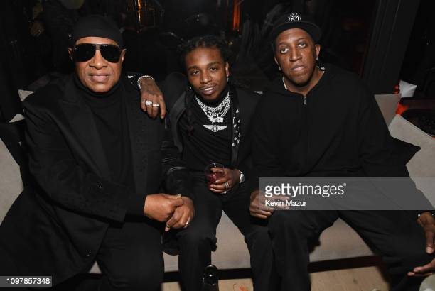 Stevie Wonder Jaquees and Ronald Slim Williams during Republic Records Grammy after party at Spring Place Beverly Hills on February 10 2019 in...