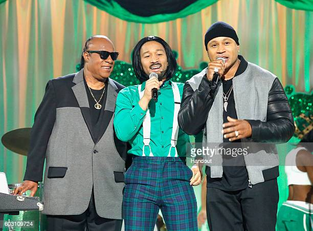 Stevie Wonder John Legend and Host LL Cool J perform onstage during Spike TV's Lip Sync Battle All Stars Live on September 11 2016 in Studio City...