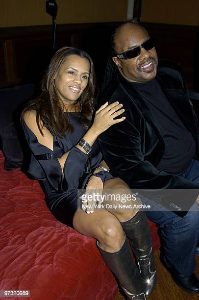 Stevie Wonder joins his wife Kai Milla at a Fashion Week reception for her fall 2006 collection at the Prince George Ballroom on E 27th St