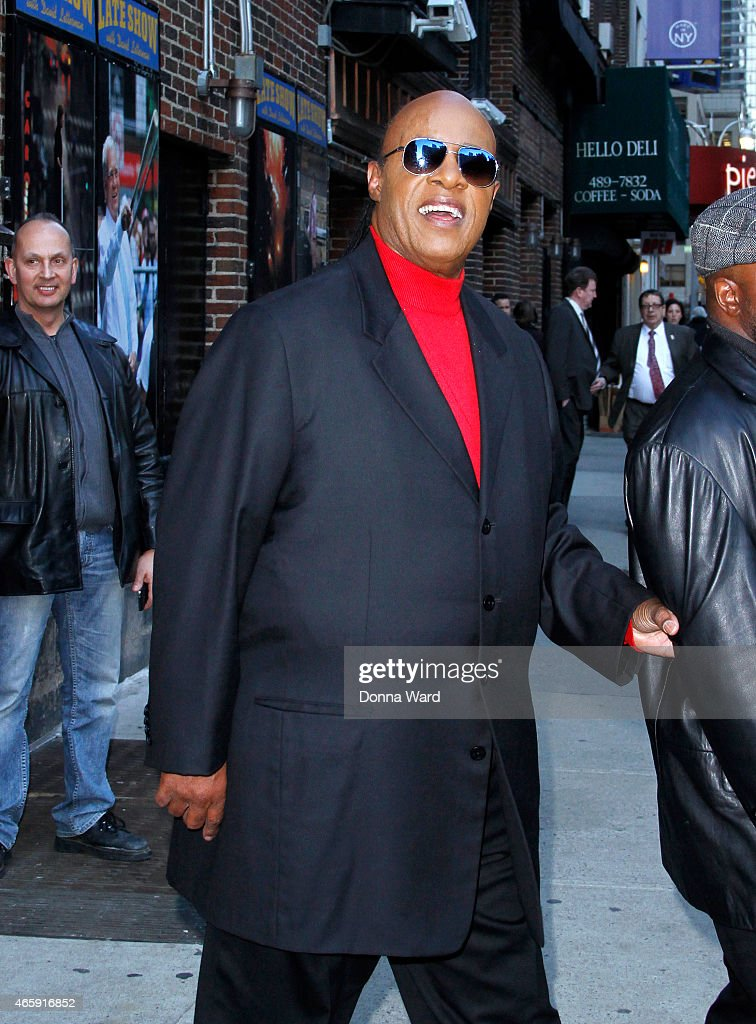 Stevie Wonder leaves the 'Late Show with David Letterman' at Ed Sullivan Theater on March 11, 2015 in New York City.