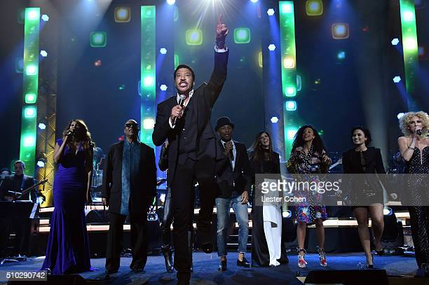 Stevie Wonder Lenny Kravitz Lionel Richie and Pharrell Williams perform onstage during the 2016 MusiCares Person of the Year honoring Lionel Richie...