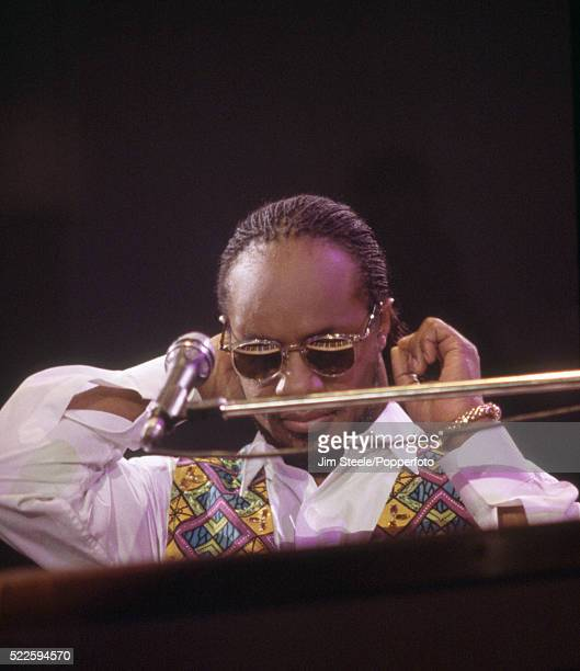 Stevie Wonder performing on stage at the Wembley Arena in London on the 6th March 1992