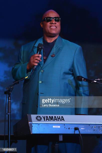 Stevie Wonder performs at SeriousFun Children's Network event honoring Liz Robbins with celebrity guests at Pier Sixty at Chelsea Piers on April 4...
