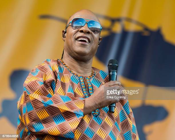 Stevie Wonder performs at the 2017 New Orleans Jazz Heritage Festival at Fair Grounds Race Course on May 6 2017 in New Orleans Louisiana