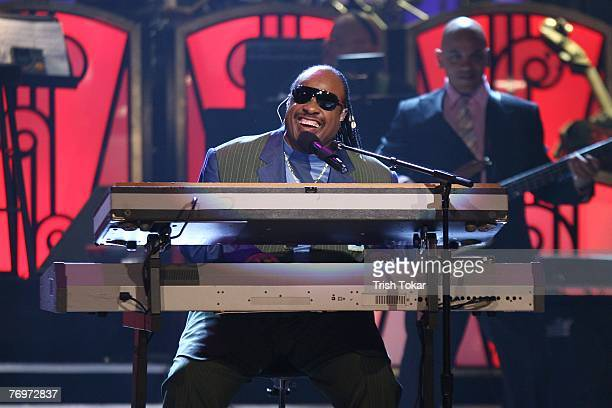 Stevie Wonder performs at the 29th Annual Evening of Stars honoring Smokey Robinson presented by the United Negro College Fund at the Pasadena Civic...