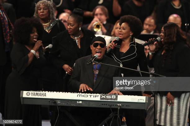 Stevie Wonder performs at the funeral for Aretha Franklin at the Greater Grace Temple on August 31 2018 in Detroit Michigan Franklin died at her home...