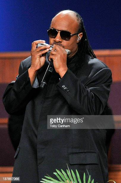 Stevie Wonder performs at the funeral of singer Etta James in the City Of Refuge Church on January 28 2012 in Gardena California
