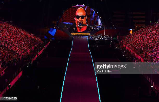 Stevie Wonder performs during the Athens 2011 Special Olympics Opening Ceremony at Panathinaiko stadium on June 25 2011 in Athens Greece