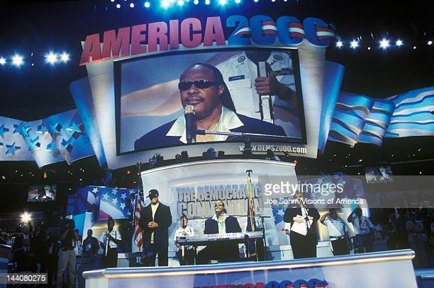 Stevie Wonder performs following Al Gore's nomination speech at the 2000 Democratic Convention at the Staples Center Los Angeles CA