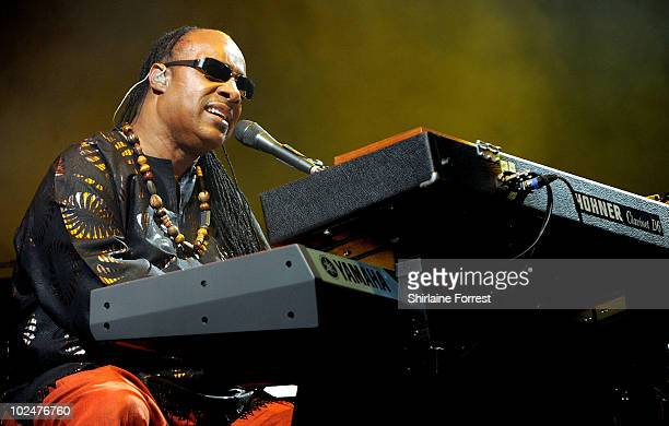 Stevie Wonder performs headlining the Pyramid stage on Day 4 of the Glastonbury Festival at Worthy Farm on June 27 2010 in Glastonbury England