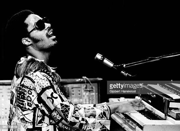 Stevie Wonder performs live on stage at The Rainbow Theatre in London on January 31 1974