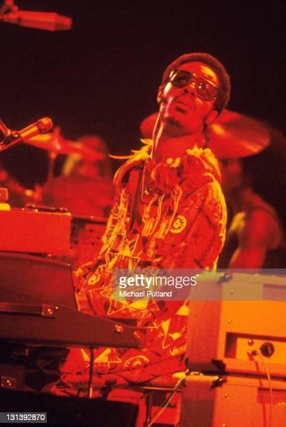 Stevie Wonder performs on stage London 1975