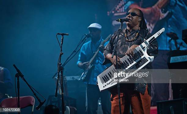 Stevie Wonder performs on The Pyramid Stage during Day 4 of the Glastonbury Festival on June 27 2010 in Glastonbury England This year sees the 40th...
