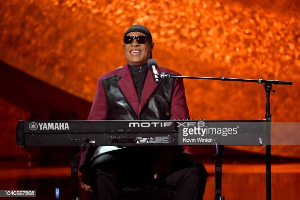 Stevie Wonder performs onstage at Q85 A Musical Celebration for Quincy Jones at the Microsoft Theatre on September 25 2018 in Los Angeles California