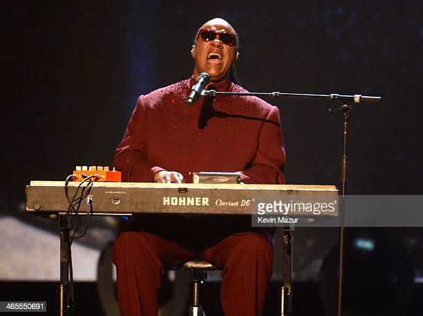 Stevie Wonder performs onstage at The Night That Changed America A GRAMMY Salute To The Beatles at Los Angeles Convention Center on January 27 2014...
