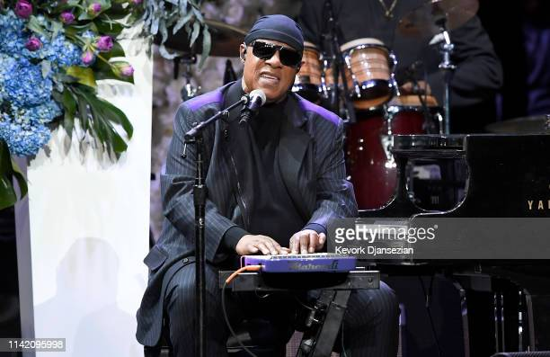 Stevie Wonder performs onstage during Nipsey Hussle's Celebration of Life at STAPLES Center on April 11 2019 in Los Angeles California Nipsey Hussle...