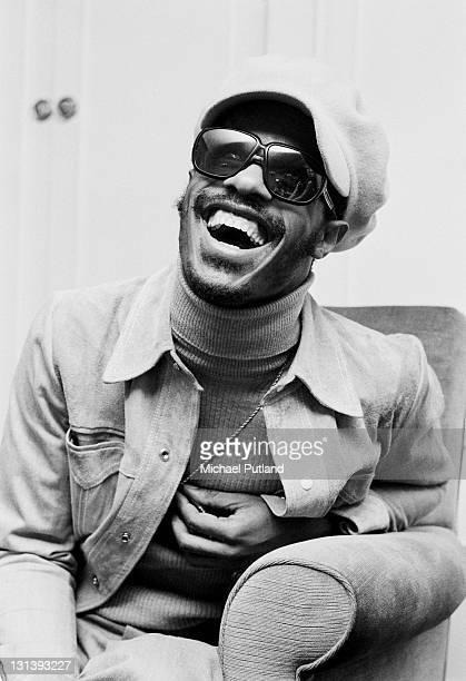 Stevie Wonder portrait being interviewed London 29th January 1974