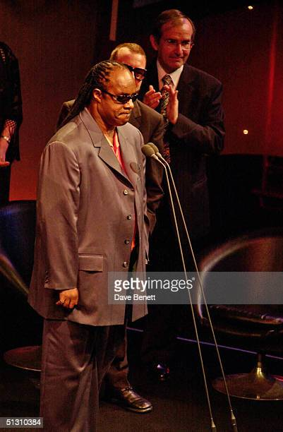 Stevie Wonder receives his award at the 2001 Ivor Novello Awards at The Grosvenor House Hotel on May 24 2001 in London