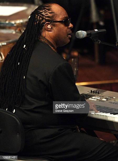 Stevie Wonder sings during the funeral service for the late Johnnie Cochran at the West Angeles Cathedral in Los Angeles California April 6 2005