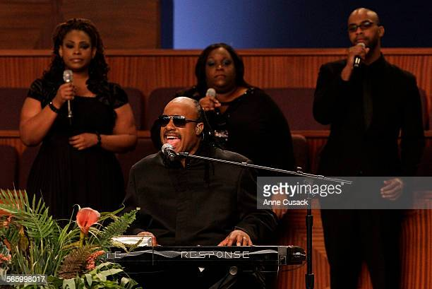 Stevie Wonder sings with the City of Refuge Choir during the Homegoing Celebration Service at the funeral for legend Etta James at the City of Refuge...